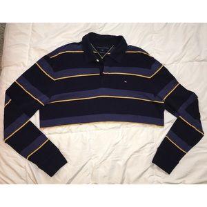 Vintage 90's Tommy Hilfiger raw hem polo crop l/s